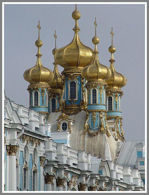 Golden Domes, Peterhof Palace. St. Petersburg, Russia
