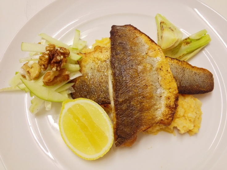 Sea bass with parsnip and cauliflower mash and a fennel and apple ...