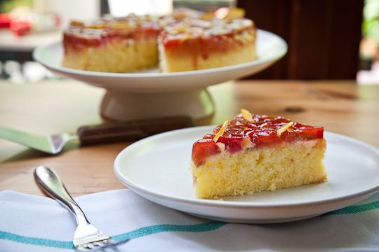 Sweet Cherry Rhubarb Semolina Cake with Candied Clementines | Recipe