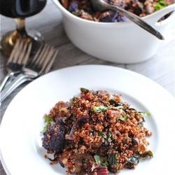 Red Quinoa with Swiss Chard, Mushrooms and Purple Cauliflower!