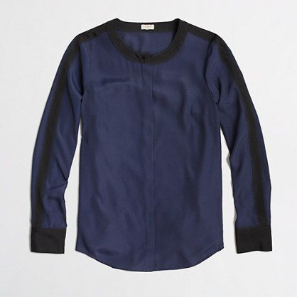 Factory contrast-trim blouse