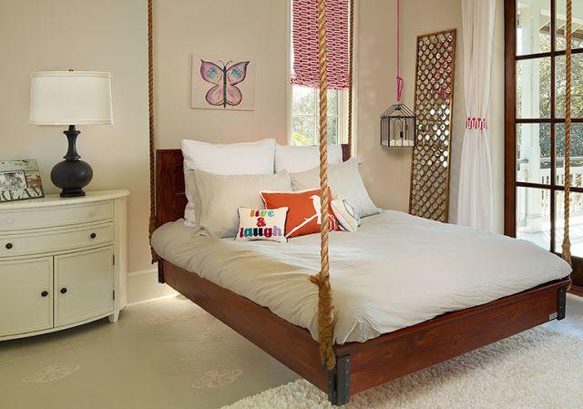 Bedroom bed swing bed frame ideas pinterest for Swinging bed frame