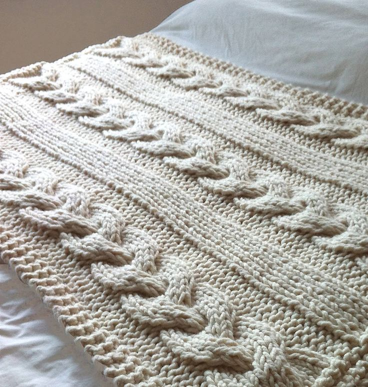 Giant Cable Knitted Blanket