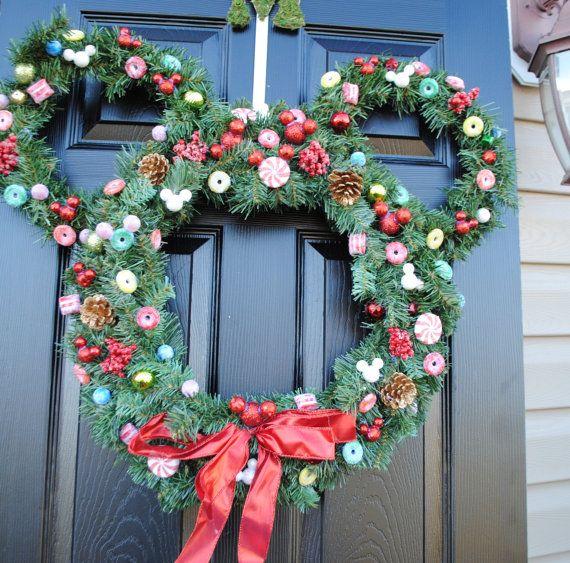 Christmas wreath holiday wreath xmas wreath disney christmas mick