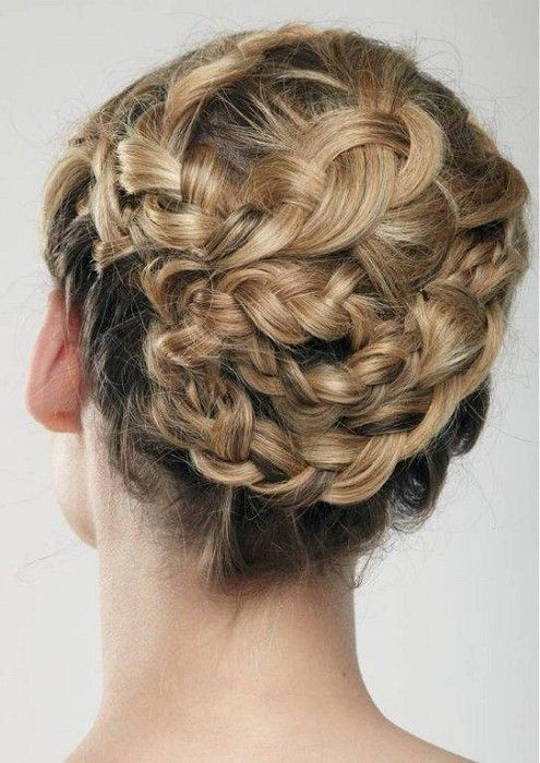 Romantic Braided Updo Hairstyle Back View