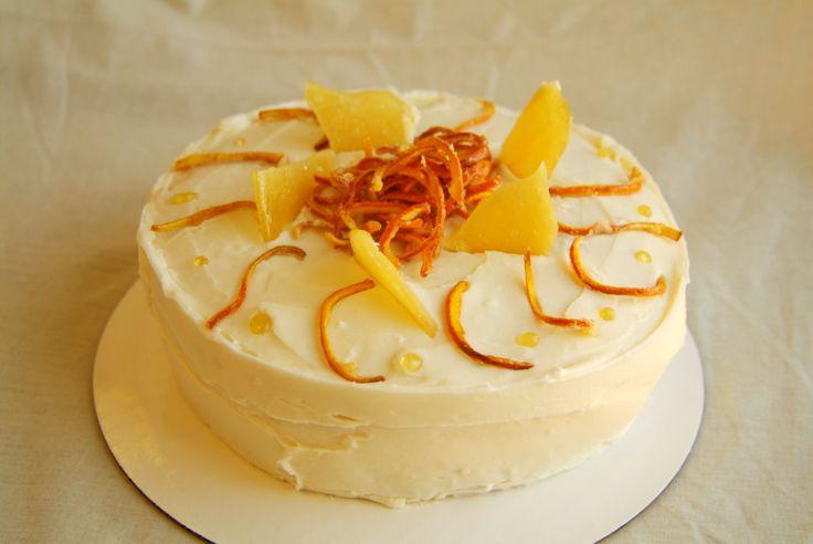 Orange Yogurt Cake- Got to decorate with julienned orange peel and ...