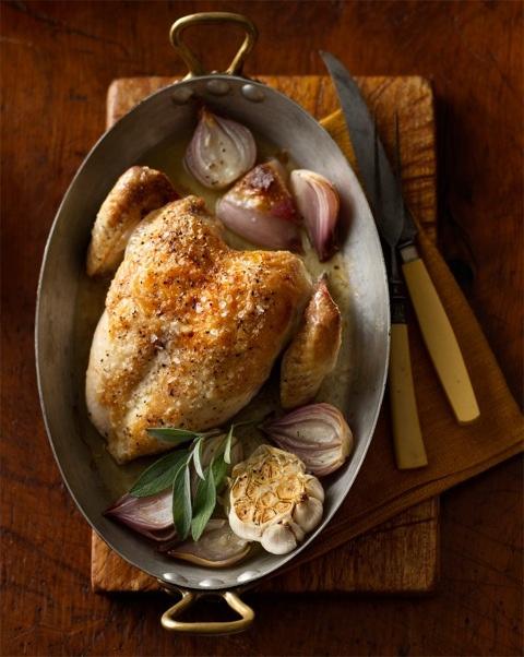 Roast Chicken with Shallot-Garlic Marmalade recipe www.justbarechick ...