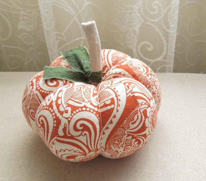 Medium Orange and White Fabric Pumpkin Autumn Decor
