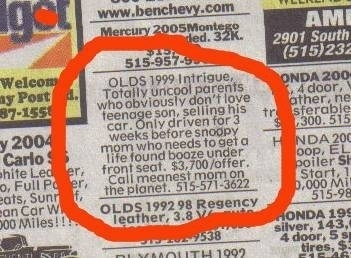 Car for sale by mean mom!