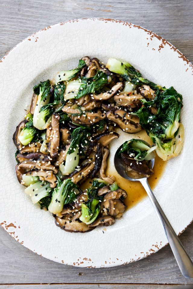 shiitake mushrooms and bok choy I got this recipe at http://porkrecipe ...