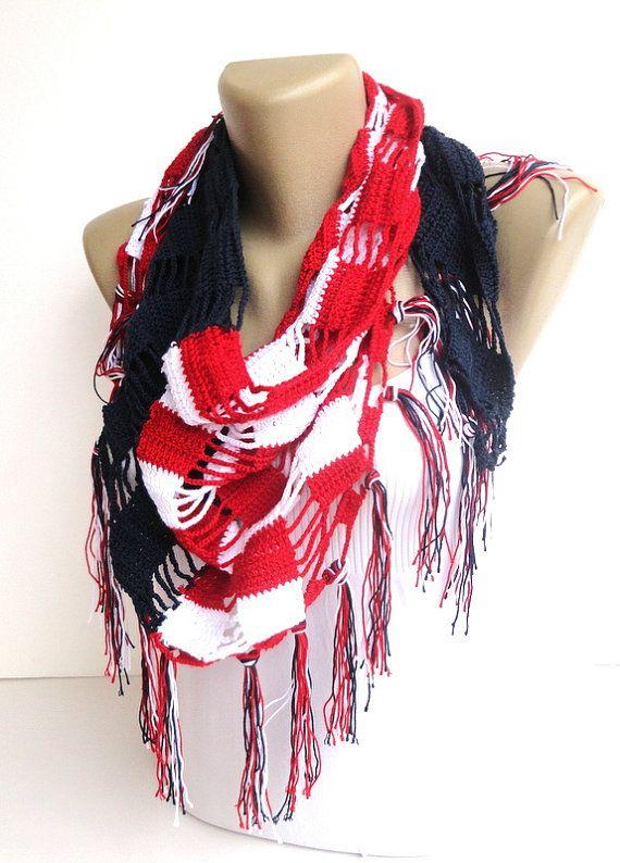 American flag scarf ,women scarf ,crochet scarf ,Cozy ...