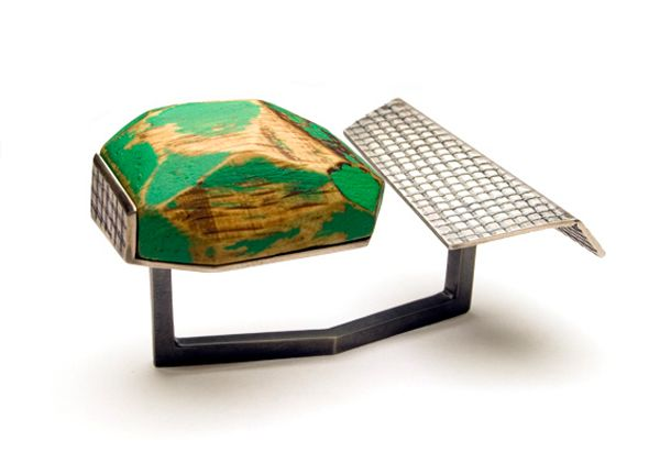 Cristina Zani - 'My Seoul' double green ring in silver, wood, acrylic paint