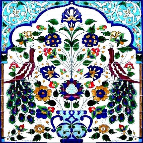 Decorative ceramic tiles large mosaic panel hand painted - Hand painted ceramic tile ...
