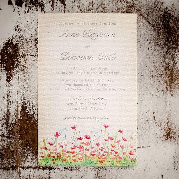 Rustic Backyard Wedding Invitations : Rustic Wedding Invitation Suite  The Meadow  garden wedding, rustic