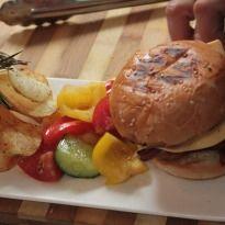 Lamb and Pork #Burger with Chunky Salad: A lip smacking juicy burger ...