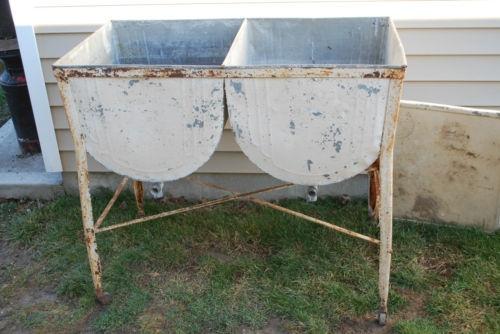 Metal Laundry Tub : ... antique galvanized metal double laundry wash tub w/drains lid