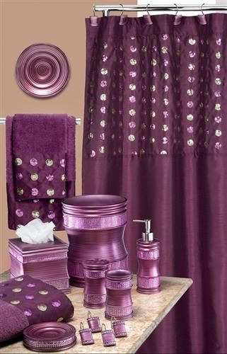 Sequins purple shower curtain bathroom ideas pinterest for Purple and gold bathroom set