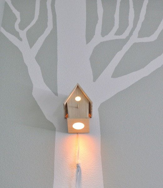Wall Hanging Lamps : Avery Modern Wall Hanging Birdhouse Lamp for Baby Nursery Lighting