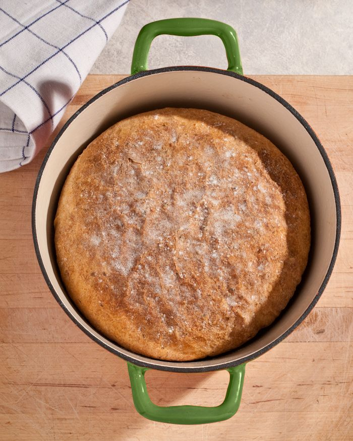 no-knead garlic cheese bread with smoked Gouda and garlic scape pesto