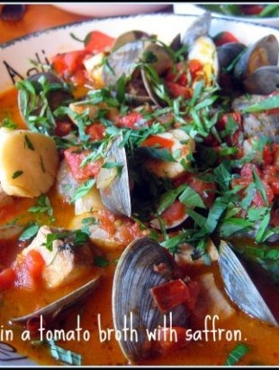 Seafood in a Tomato Broth with Saffron   Seafood   Pinterest