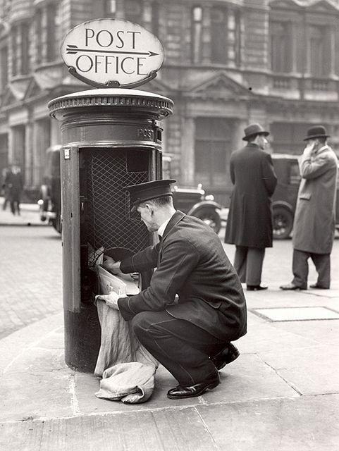 :::::::::: Vintage Photograph :::::::::: Postman clearing pillar box
