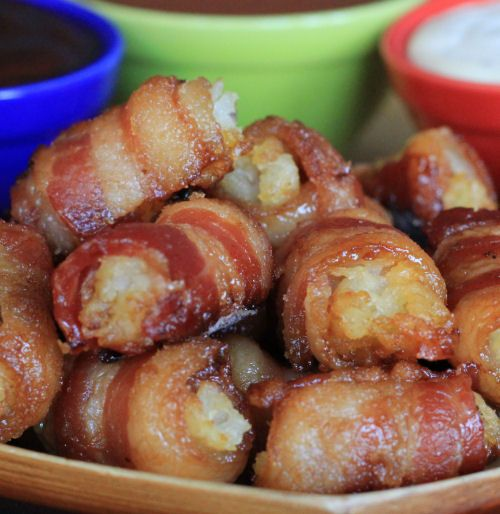 Bacon Wrapped Tater Tots Bombs With eggs for breakfast; on a stick for ...