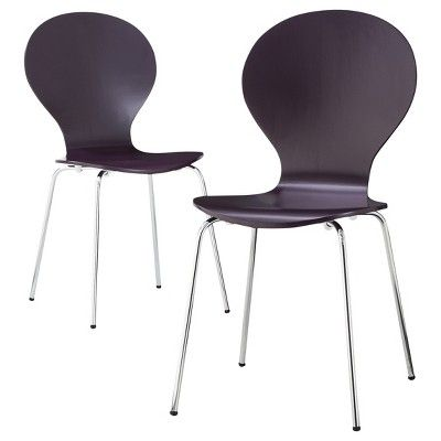 Modern Stacking Chair Plum - Set of 2