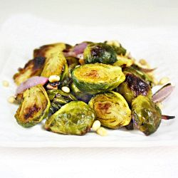 Roasted Brussels Sprouts with Toasted Pine Nuts and Honey-Balsamic ...