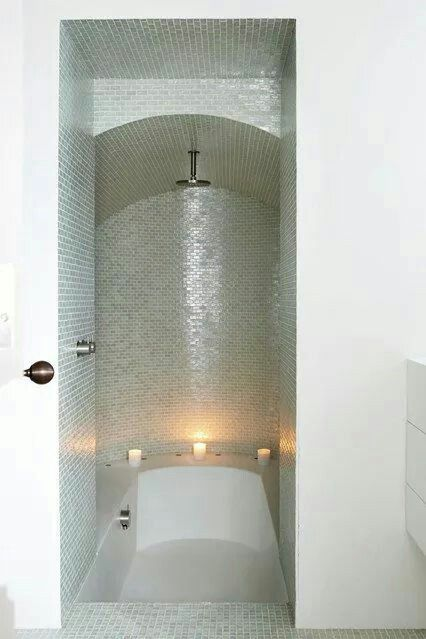 Small space bath shower masterbed bathroom pinterest - Bathtub showers small spaces ...