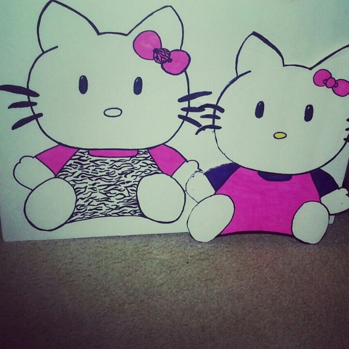 Hello Kitty wall art. Made from foam boards and sharpies. This cost me