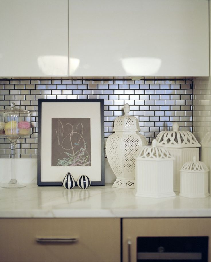 metallic mini subway tile backsplash interiors pinterest