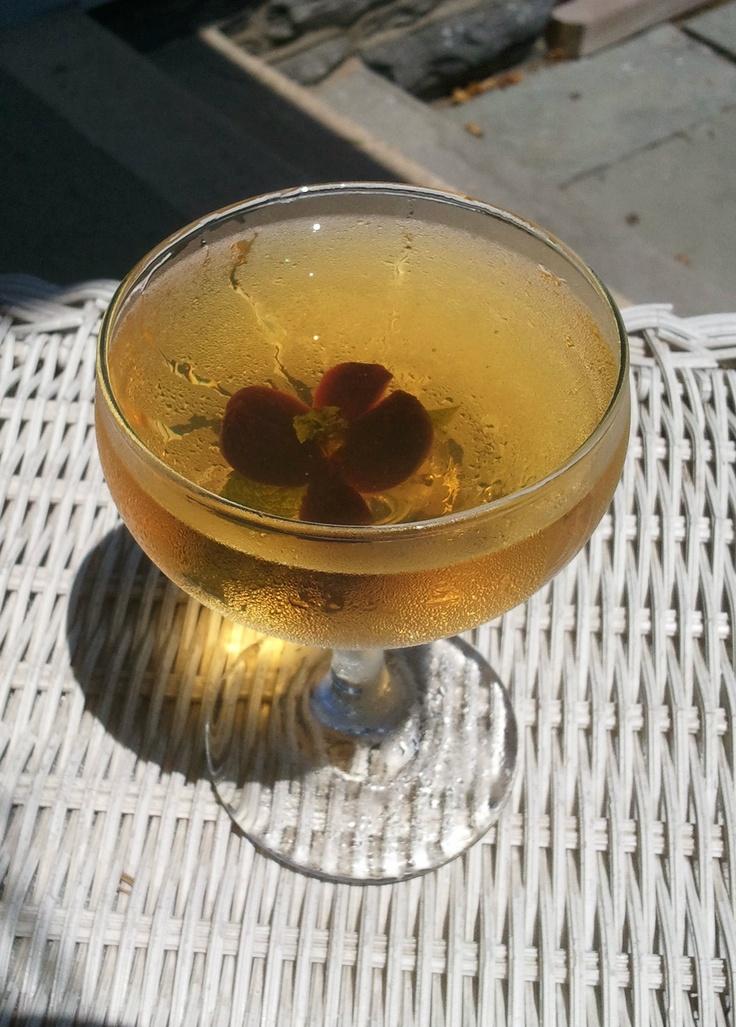 ... , cherry bark vanilla bitters, cherry-mint blossom garnish #cocktail