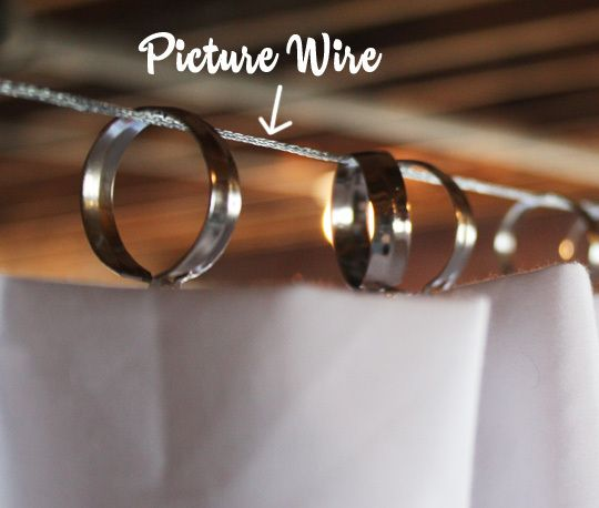 hang flat sheets with picture wire and cafe clips