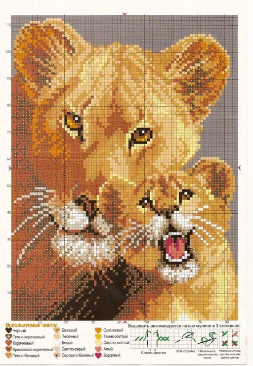 Львы схема вышивки крестиком 64