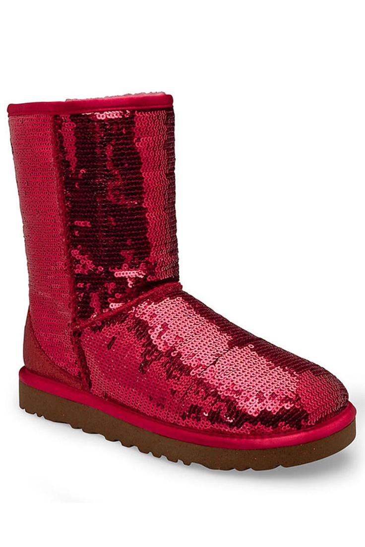 Ugg ladies classic short sparkles boot in red beyond the rack