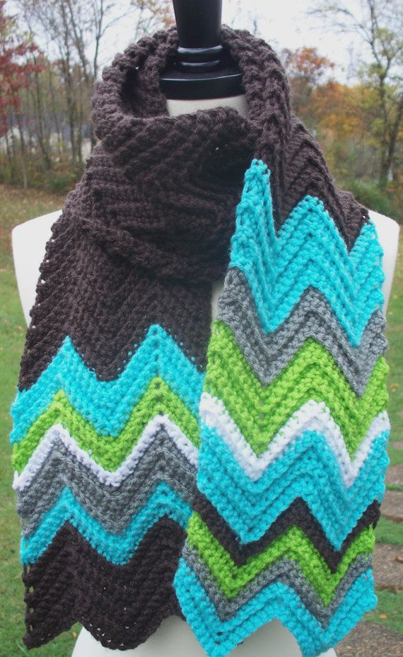 Crochet Scarf Chevron Missoni Inspired Zig Zag. WOW
