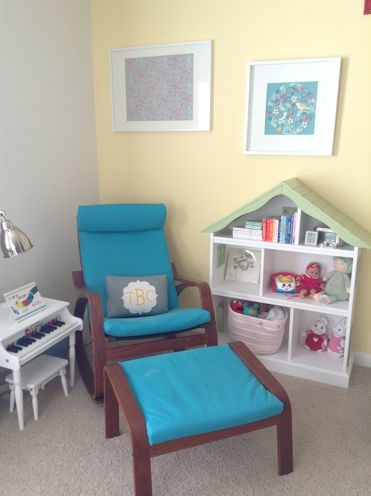 Ikea Poang Chair For Nursery ~   Nod dollhouse bookcase Ikea Poang rocking chair Ikea Ribba frames