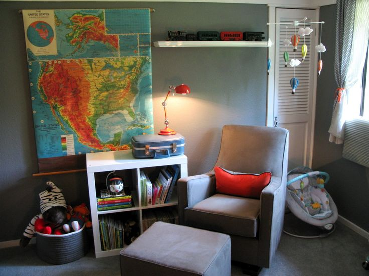 We love a modern glider in a vintage nursery! #nursery #baby