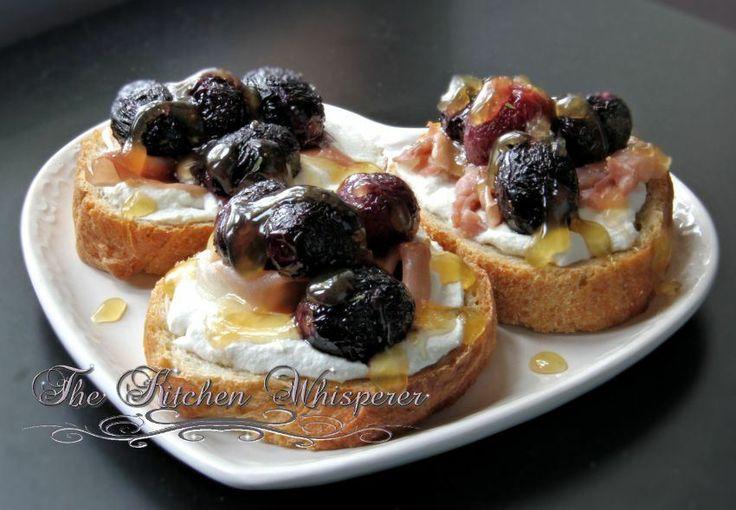 ... Roasted Grape Crostini with Ricotta, Prosciutto and Honey Drizzle