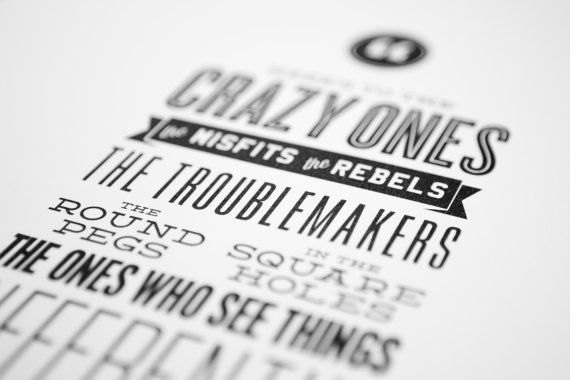 Steve jobs apple quote the crazy ones letterpress style typography