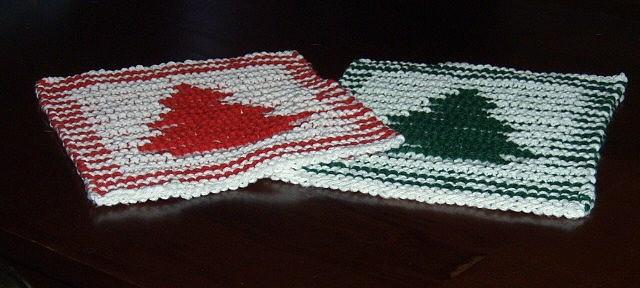 Knitting Pattern Dishcloth Christmas Tree : Knitted illusion Christmas dishcloths Dishcloth Patterns Pinterest