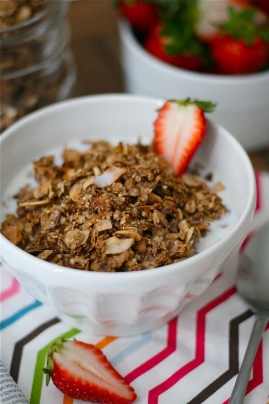 Chocolate Almond Granola | Appertizer, Breakfast, Dips, Sandwich Reci ...