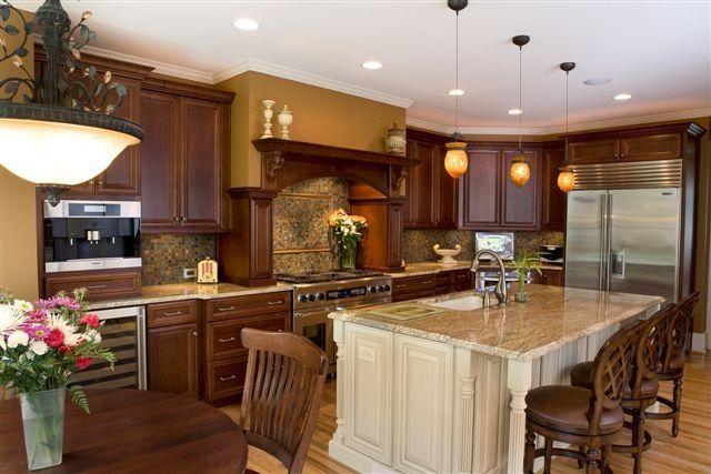 Rich cherry cabinets highlight this OBIE award winning kitchen