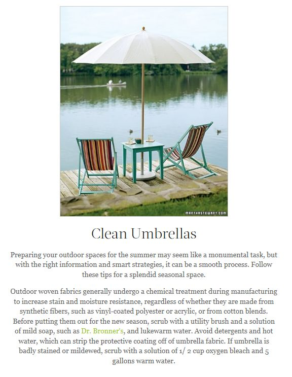 how to clean sunbrella patio umbrella