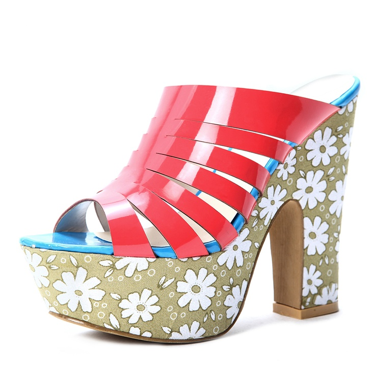 Red Patent Leather Flowers Printed shoes