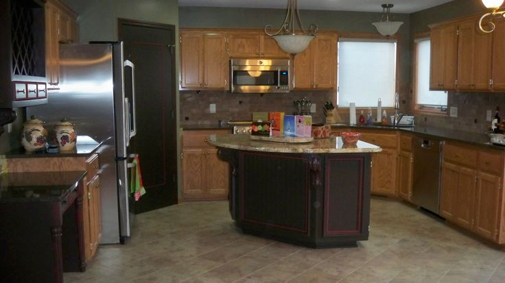 Pin by jo the a priori mommy on decor and design pinterest for Kitchen remodel keeping oak cabinets