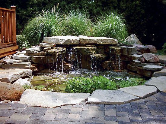 Waterfall pond patio dream home pinterest for Patio koi pond