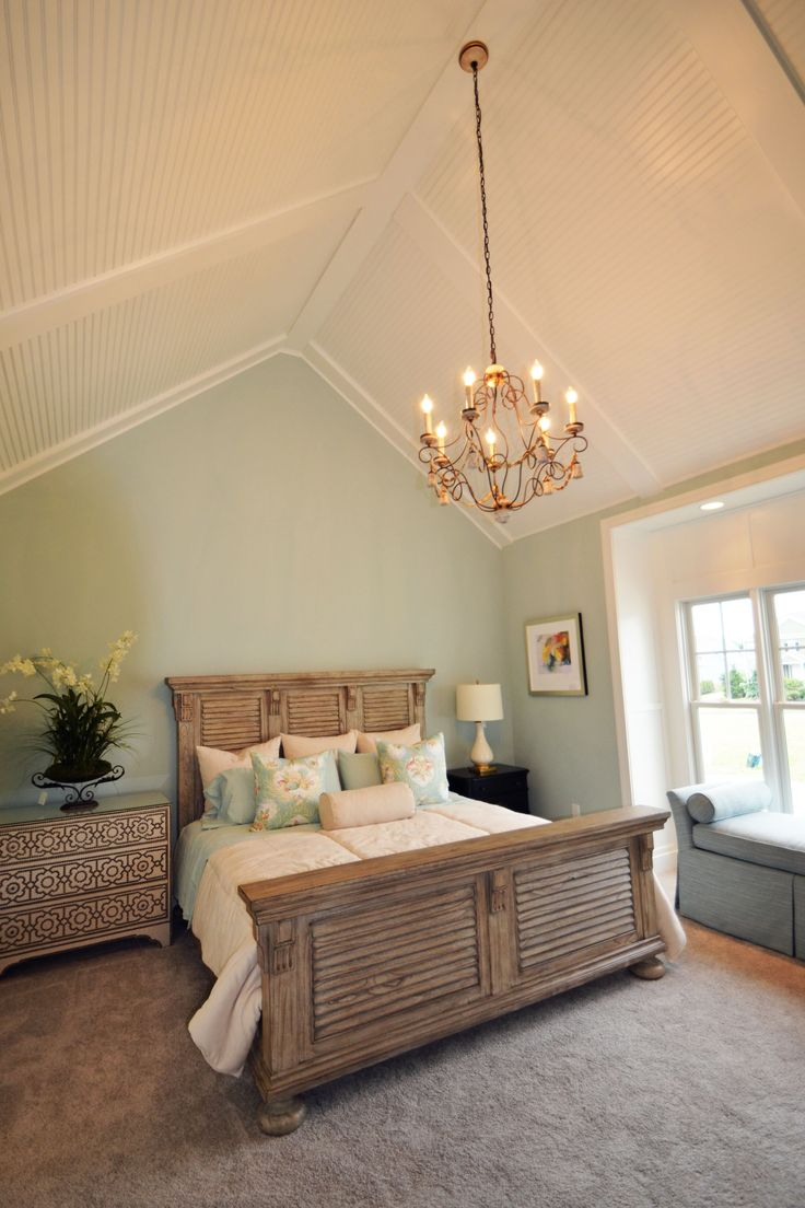 Seaside master bedroom with vaulted ceiling with low profile coffer and bead board master Master bedroom with sloped ceiling