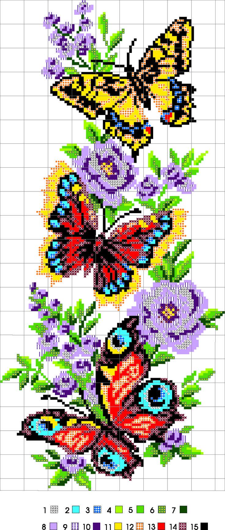 Красивая вышивка крестиком схемы цветы и бабочки