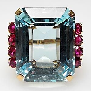 Vintage Natural Aquamarine & Ruby Cocktail #Diamond #Ring Solid 18K Gold and white gold starting price $1001 from Diamond #Lovers.